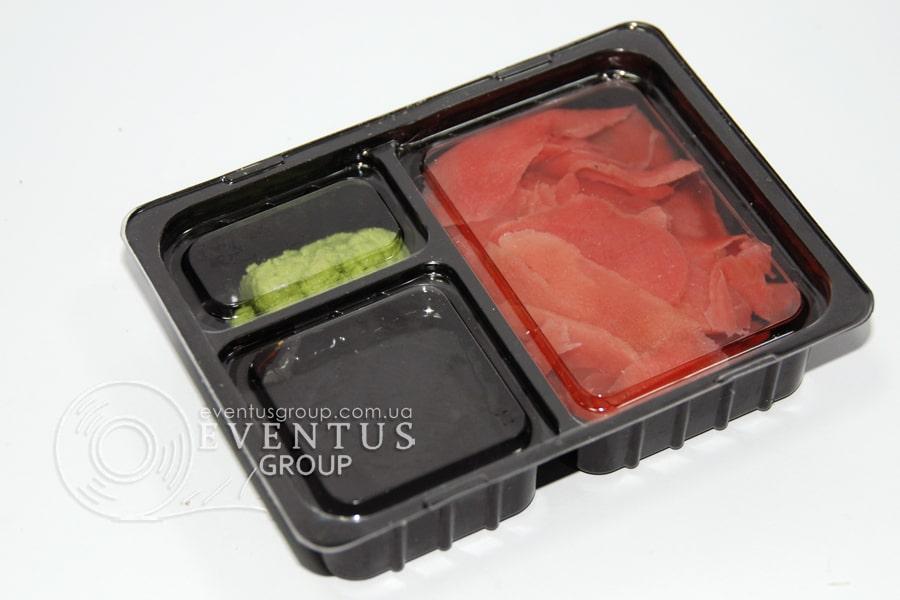 Упаковка для соевого соуса, имбиря и васаби